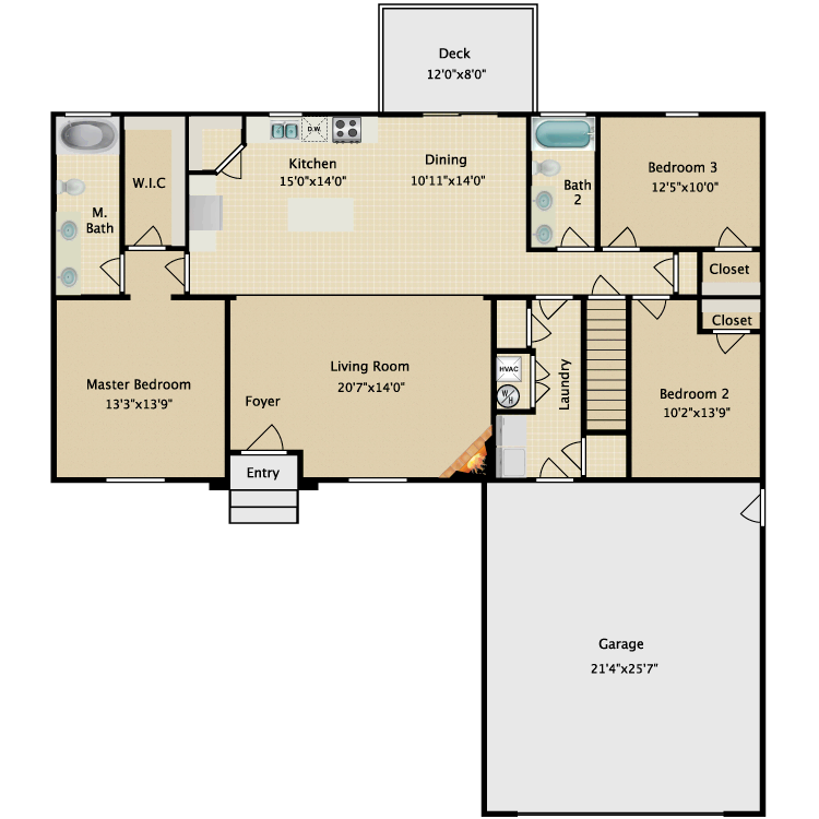 Floor plan image of 3x2 Home
