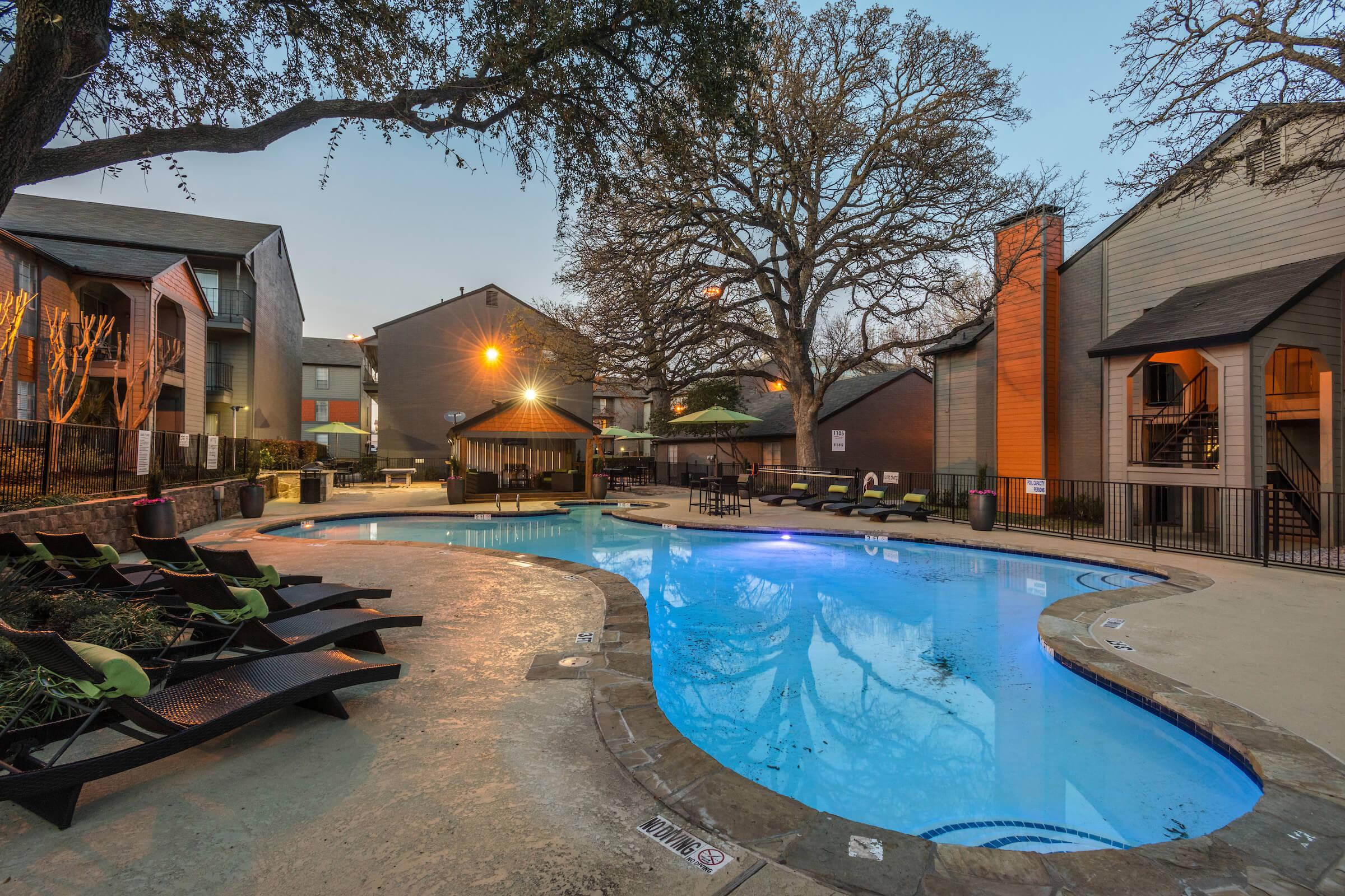 Resort style pool at Element in Arlington, TX