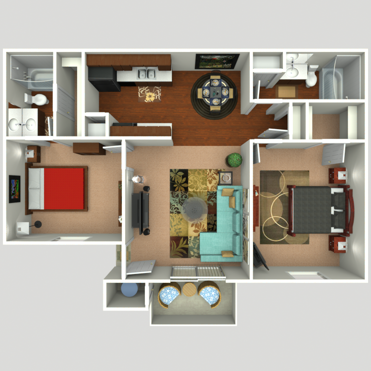 Floor plan image of 2 Bed 2 Bath B2