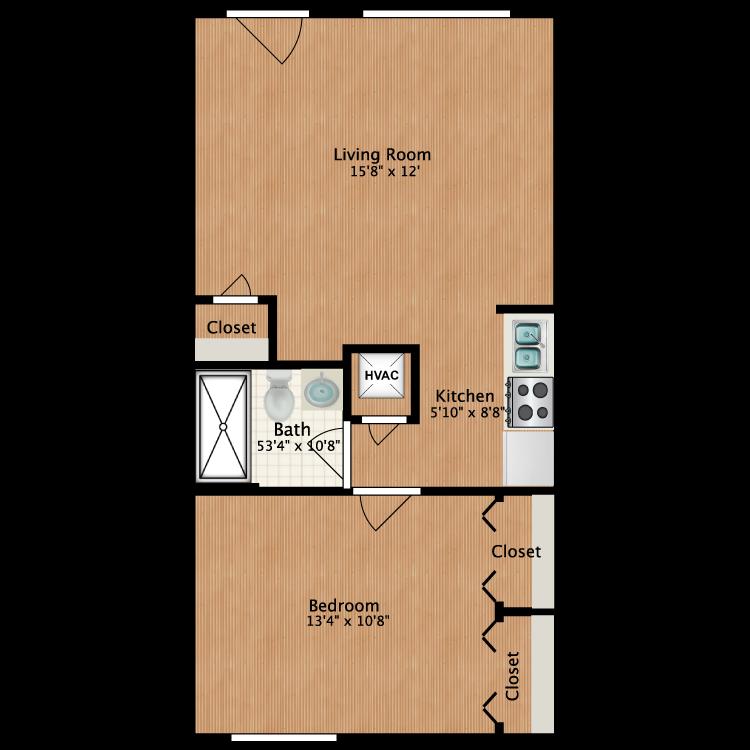 Floor plan image of One Bedroom (Furnished)