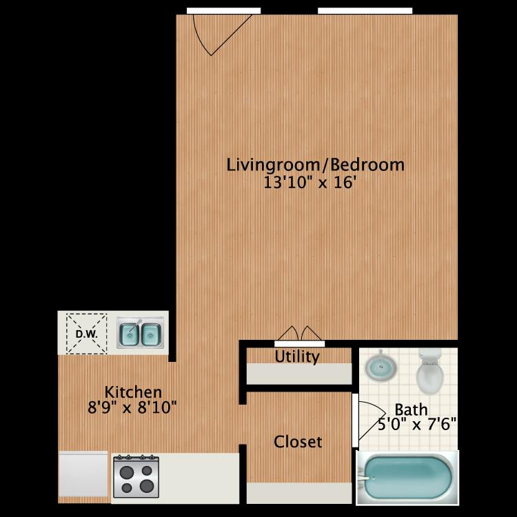 Floor plan image of Studio Deluxe