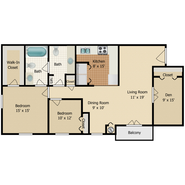 Floor plan image of 2 Bed 1.5 Bath  w/Den