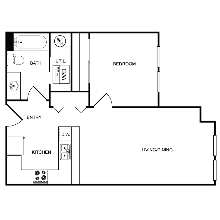 Floor plan image of Clearwater 1 Bed 1 Bath