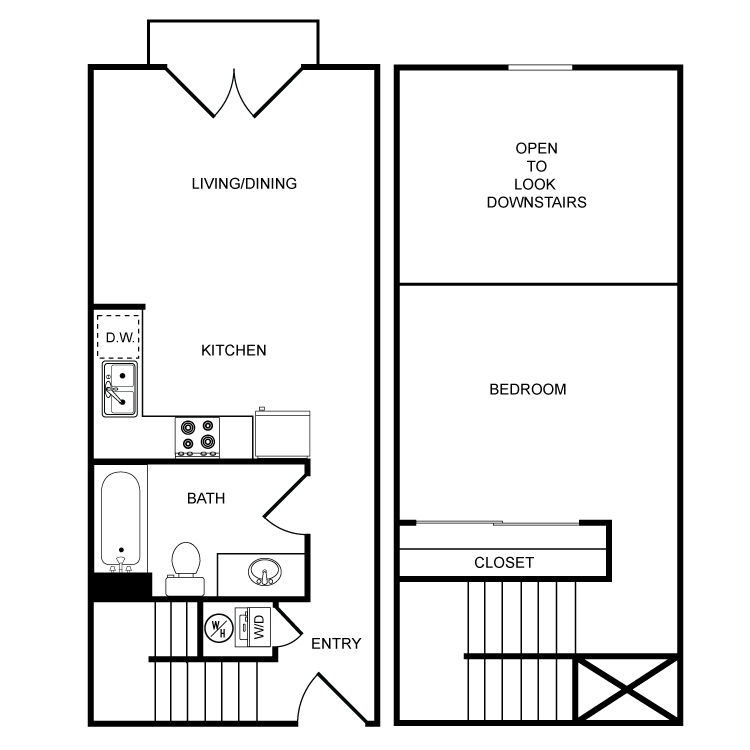 Floor plan image of Clearwater 1 Bed 1 Bath Townhome