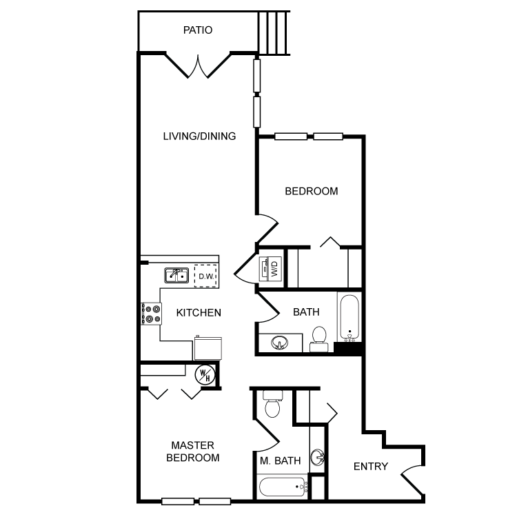 Floor plan image of Clearwater 2 Bed 2 Bath A