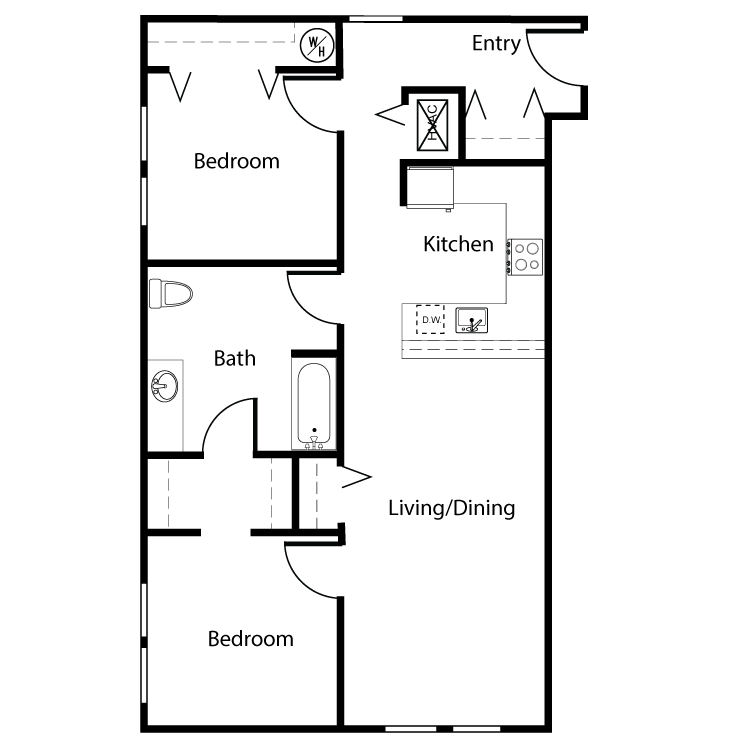 Floor plan image of Clearwater 2 Bed 1 Bath