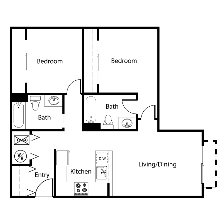 Floor plan image of Clearwater 2 Bed 2 Bath B