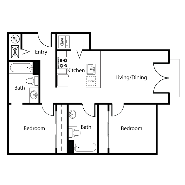 Floor plan image of Clearwater 2 Bed 2 Bath D