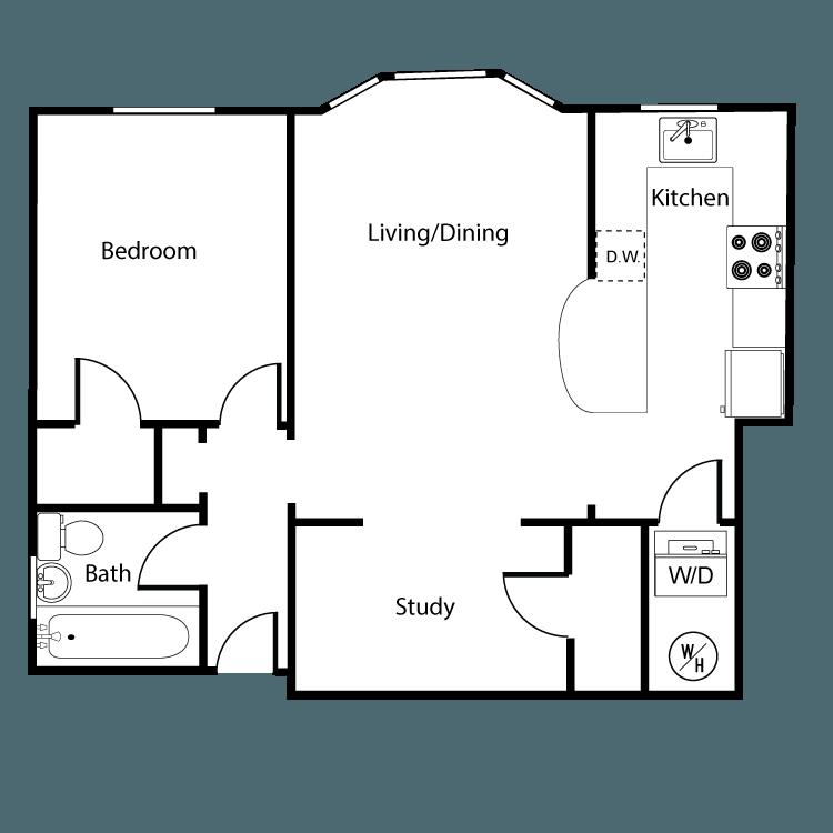 Floor plan image of Star 1 Bed 1 Bath + Den