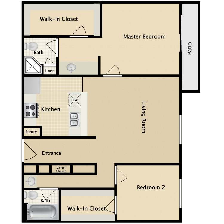 2 Bed 2 Bath B floor plan image