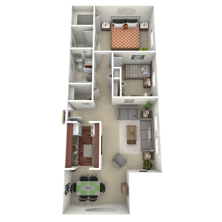 Floor plan image of Suite C with Den