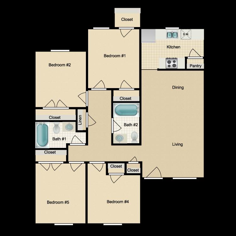 Floor plan image of 4 Bed 2 Bath