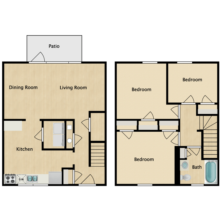 Floor plan image of 3 Bed 1 Bath Premium Deluxe