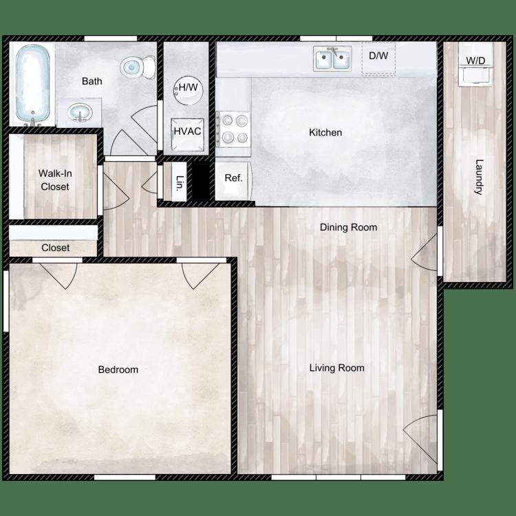 Floor plan image of 1 Bed 1 Bath Deluxe