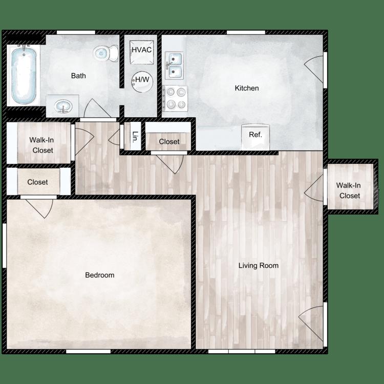 Floor plan image of 1 Bed 1 Bath Premium