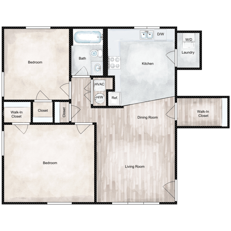 Floor plan image of 2 Bed 1 Bath Deluxe