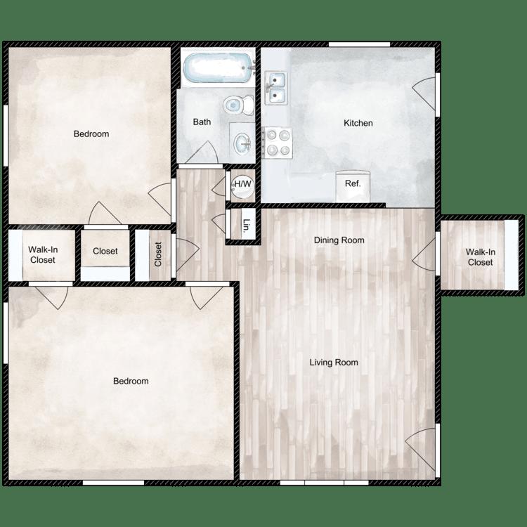 Floor plan image of 2 Bed 1 Bath Premium