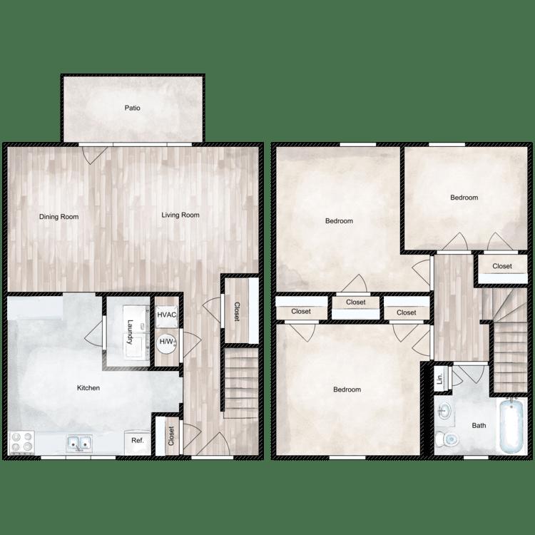 Floor plan image of 3 Bed 1 Bath Deluxe