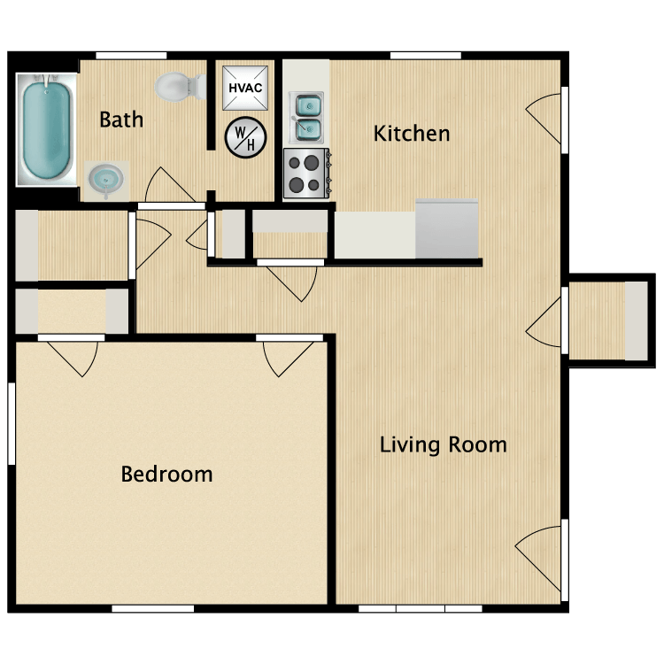 Floor plan image of 1 Bed 1 Bath Premium