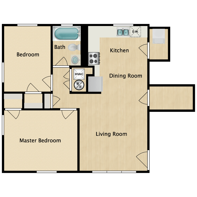 Floor plan image of 2 Bed 1 Bath Deluxe