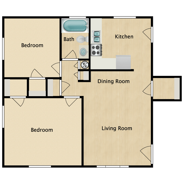 Floor plan image of 2 Bed 1 Bath Premium
