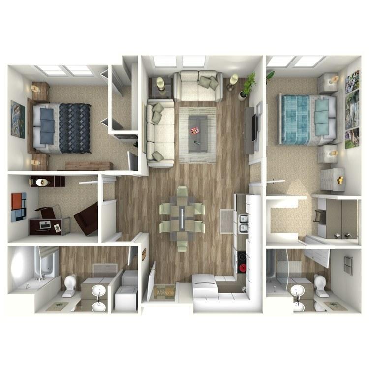 Floor plan image of 2 Bedroom with Den