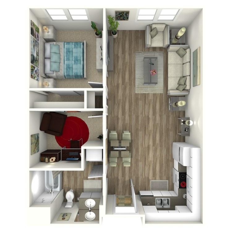 Floor plan image of 1 Bedroom with Den