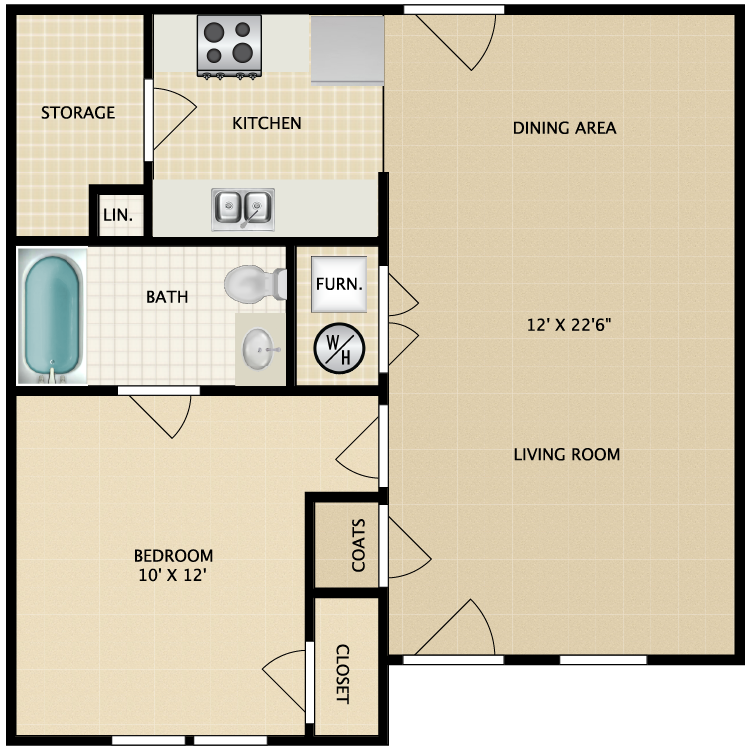 Floor plan image of 1 Bed 1 Bath-Garden