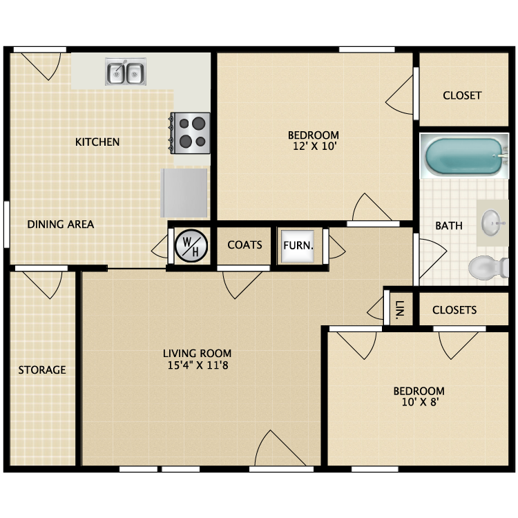 Floor plan image of 2 Bed 1 Bath-Garden