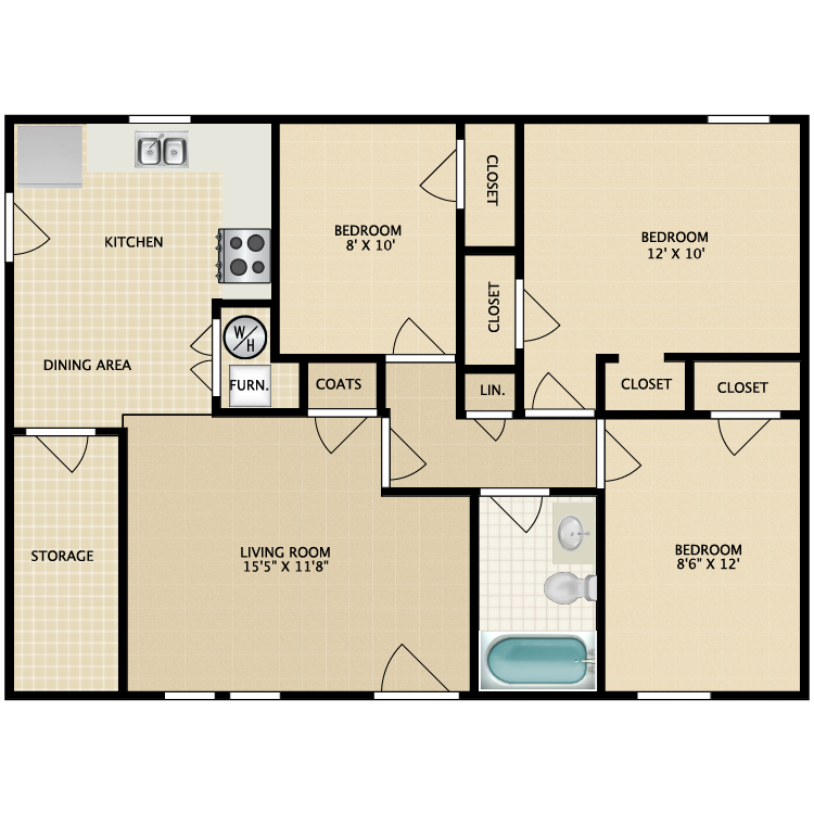 Floor plan image of 3 Bed 1 Bath-Garden