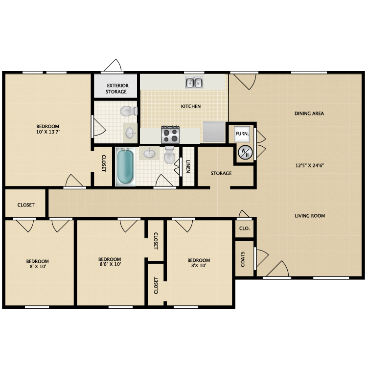 Floor plan image of 4 Bed 1.5 Bath-Garden