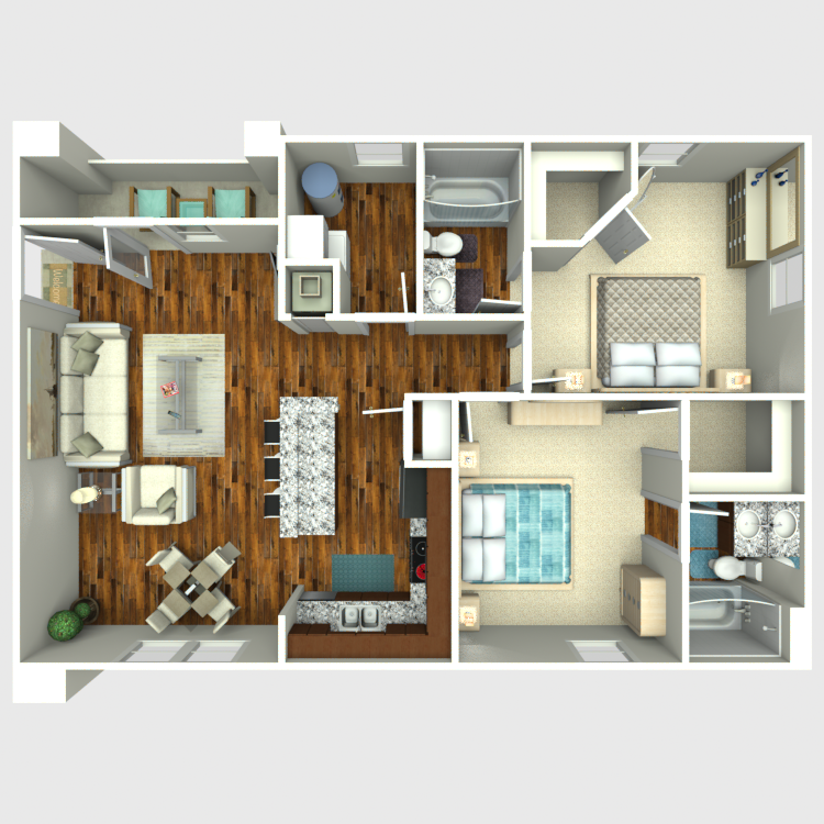 Floor plan image of 2 Bed 2 Bath Logan Ridge