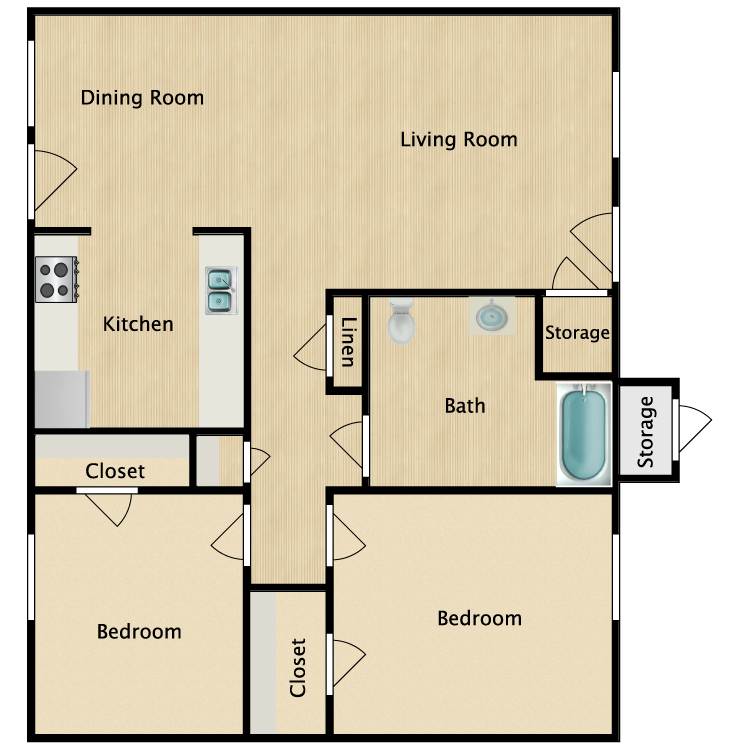 Floor plan image of 2 Bed 1 Bath HC