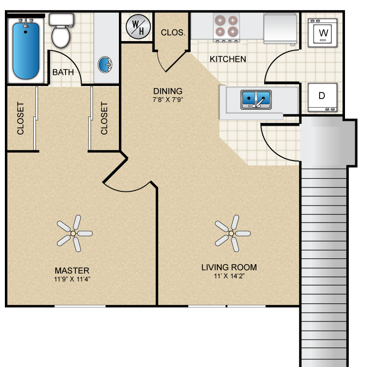 Floor plan image of 1 Bed 1 Bath A