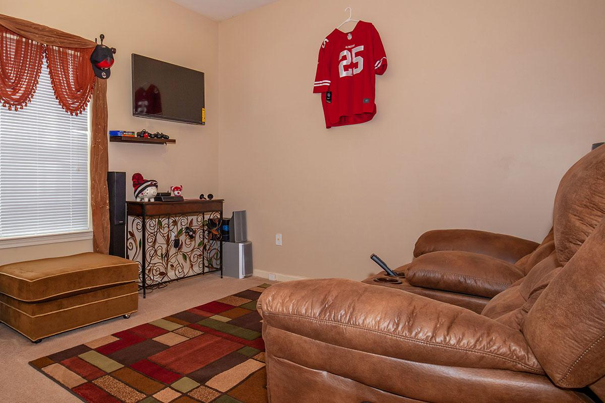 a brown leather couch in a living room with a red rug