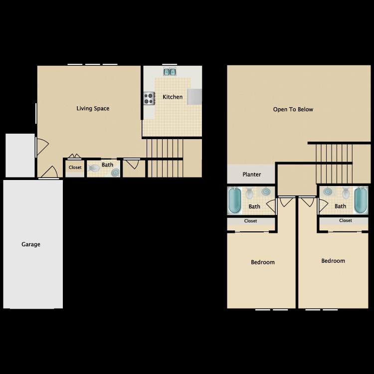 Floor plan image of Sanctuary 2 Bedroom 2 Story Luxury Townhomes