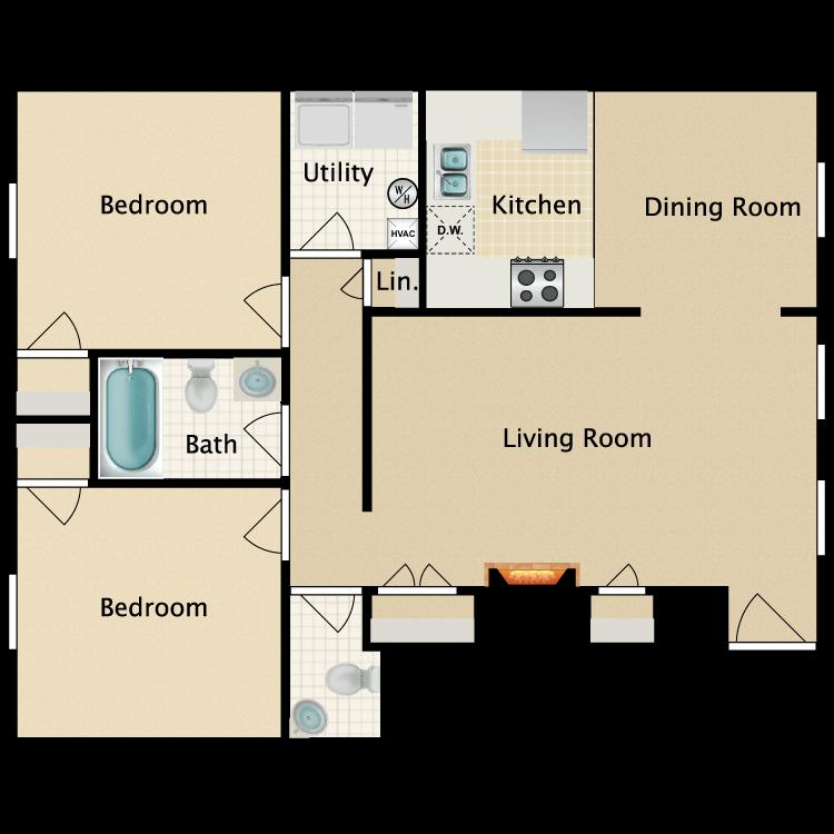 Floor plan image of Eastgate 1st Floor 2 Bedroom 1 Bath