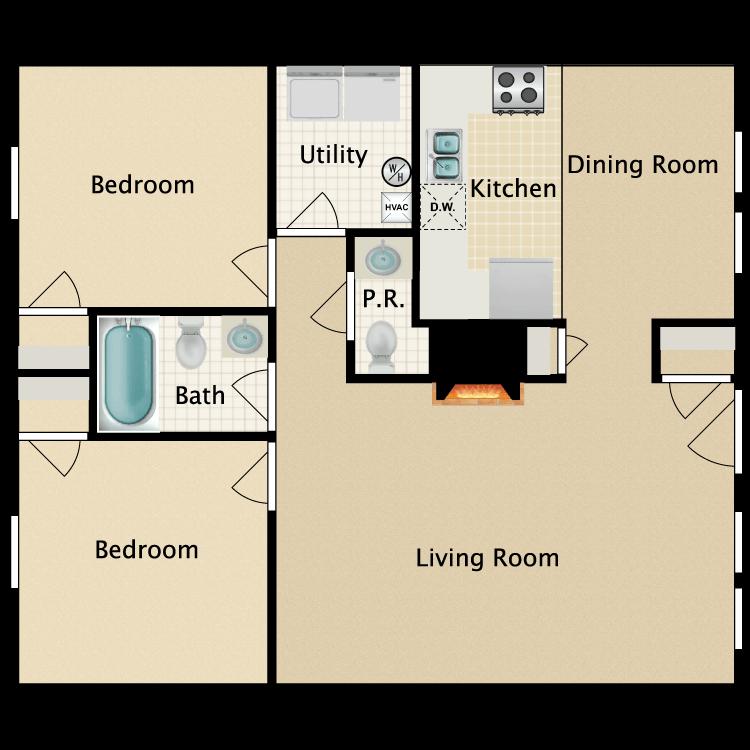 Floor plan image of Eastgate Single Story 2 Bedroom 2 Bath