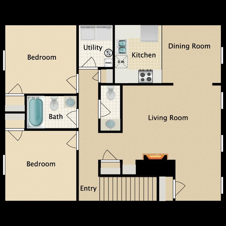 Floor plan image of Eastgate 2nd Floor 2 Bedroom 2 Bath