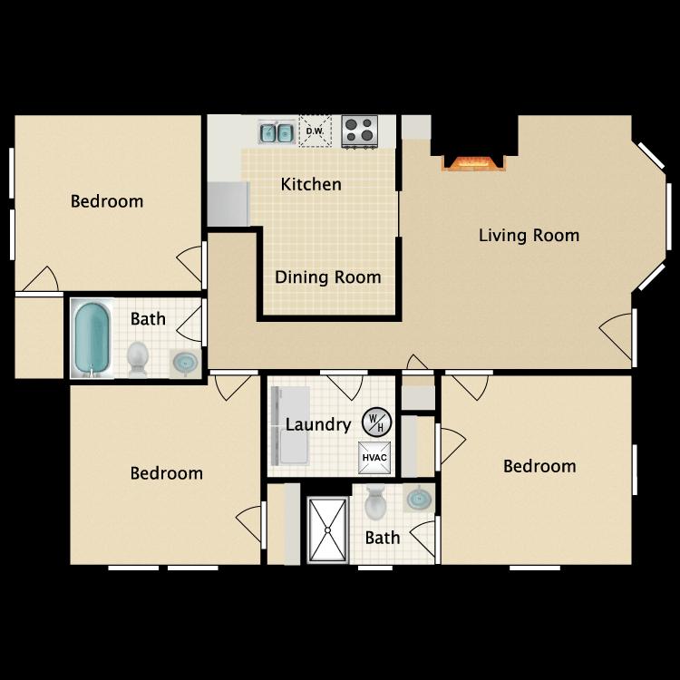 Floor plan image of Eastgate 1st Floor 3 Bedroom 2 Bath