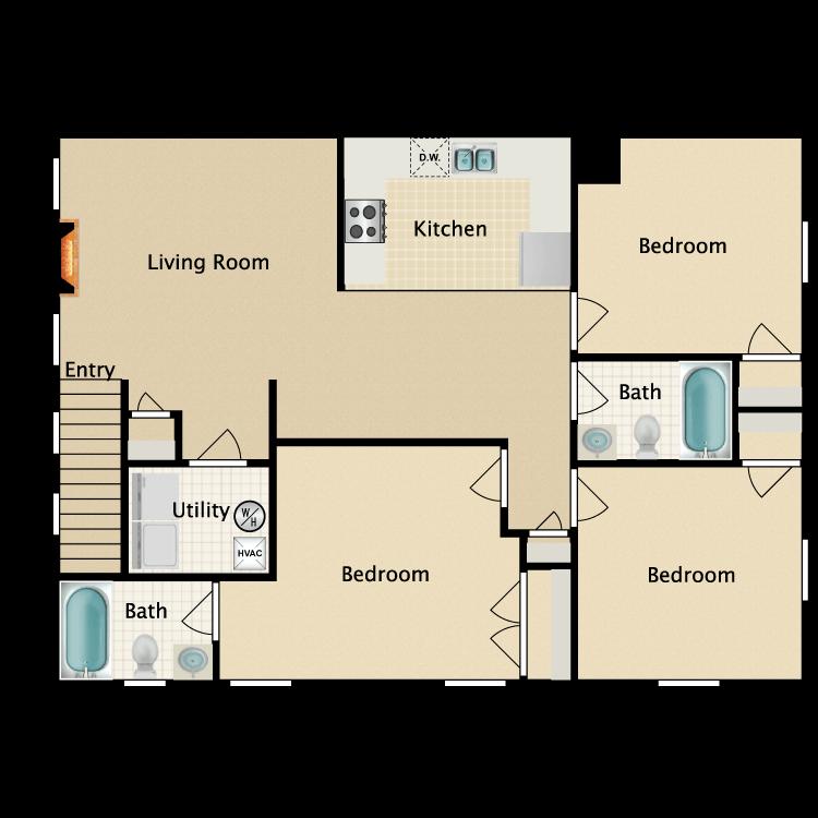 Floor plan image of Eastgate 2nd Floor 3 Bedroom 2 Bath