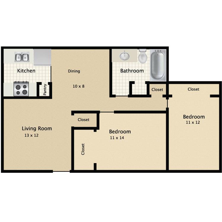 2 Bed 1 Bath A floor plan image