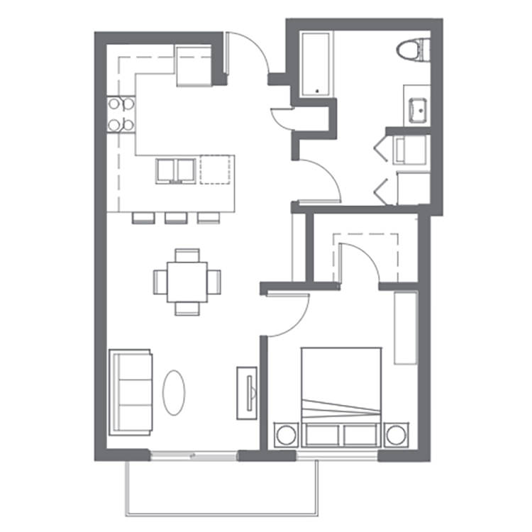 Floor plan image of 1 Bed 1 Bath F