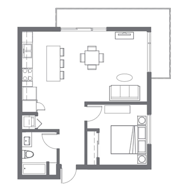 Floor plan image of 1 Bed 1 Bath D