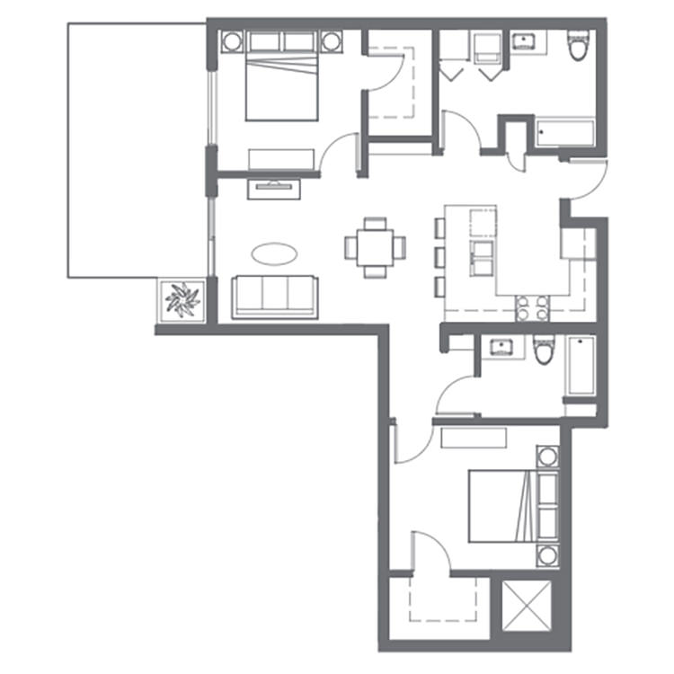 Floor plan image of 1 Bed with Den 2 Bath B