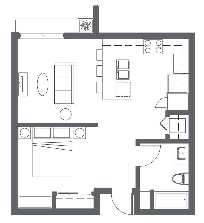 Floor plan image of Open 1 Bed 1 Bath B