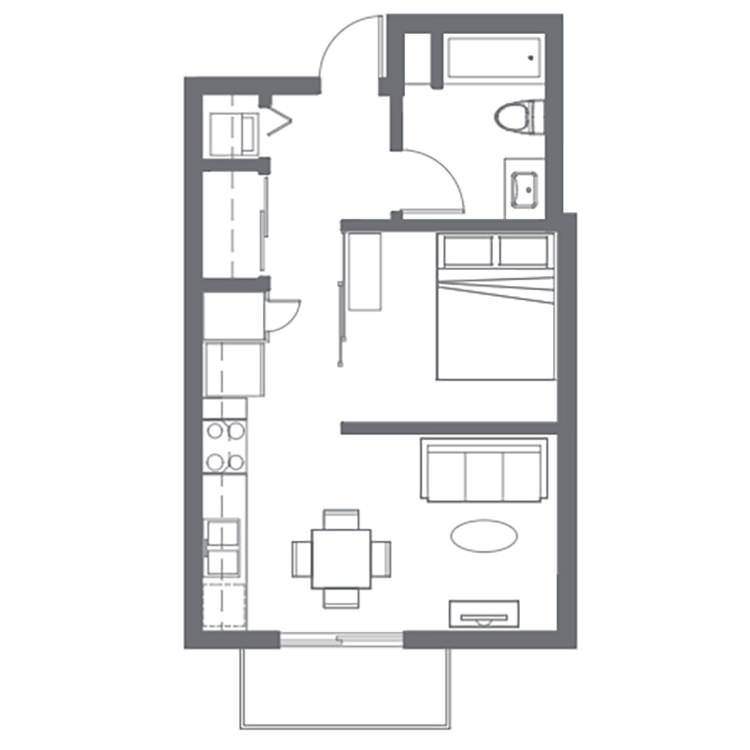 Floor plan image of Open 1 Bed 1 Bath G