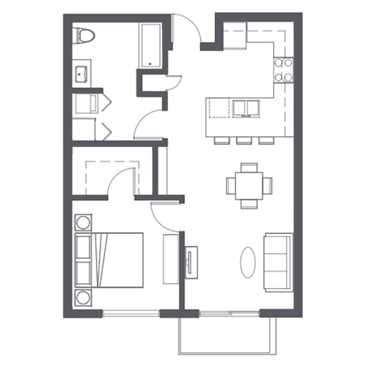 Floor plan image of Open 1 Bed 1 Bath B