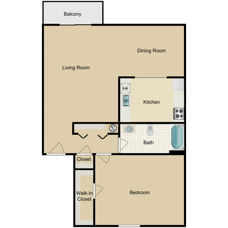 1 Bed 1 Bath A floor plan image