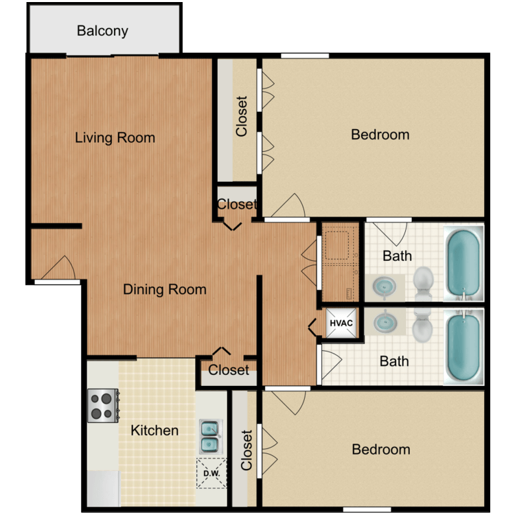 2 Bed 2 Bath floor plan image